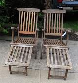 Pair of steamship wooden folding deck chairs/lounges,