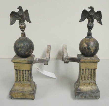 2: Pair of patriotic brass andirons with eagle finials
