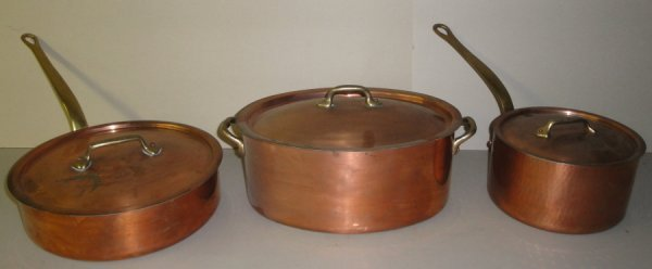 6: Three copper pots with lids. All hand made and signe