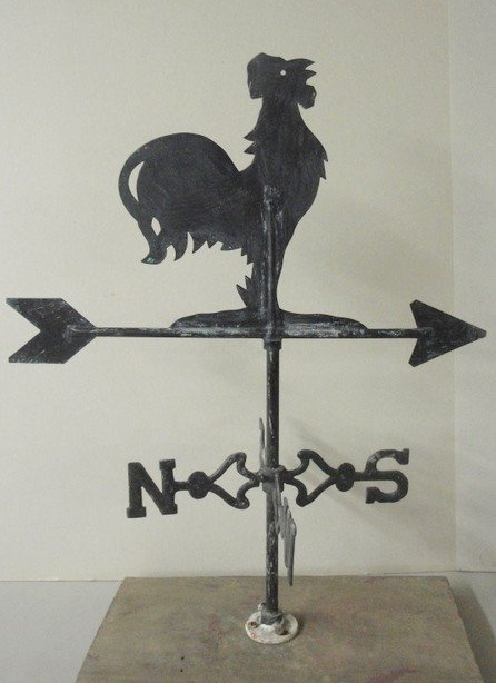 16: Sheet metal rooster weathervane. Mid-20th century o