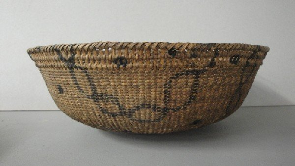 21: Two primitive hand made baskets with original paint