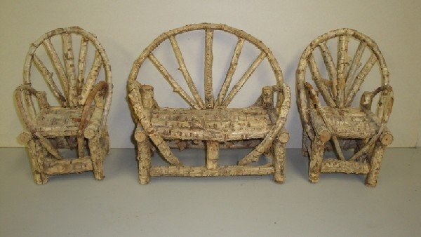 24: Three piece doll size rustic porch set consisting o