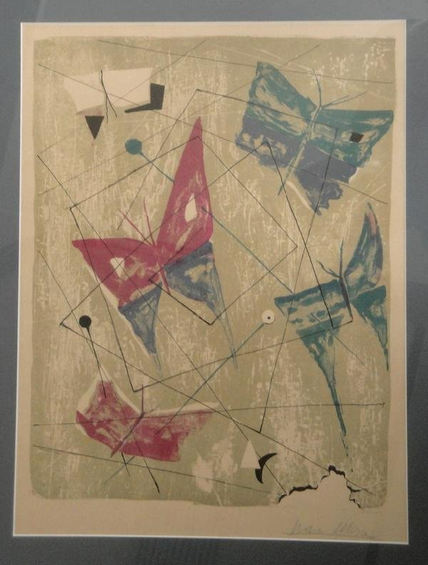 326: Modernistic lithograph of butterflies. Signed ille