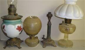 379: Five Victorian oil lamps an Aladdin style with mil