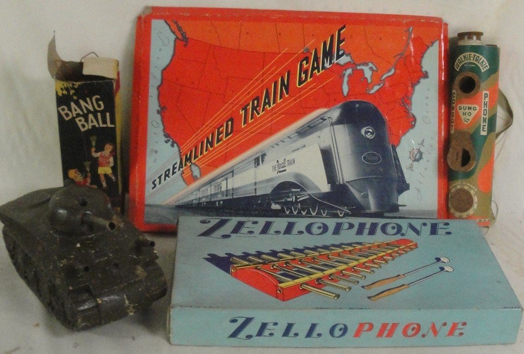 1: Two boxes misc. toys & games including zellophone, K