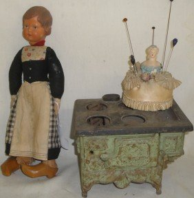 """Lot Of Misc. Toys Including Cast Iron Toy Stove """"Que"""