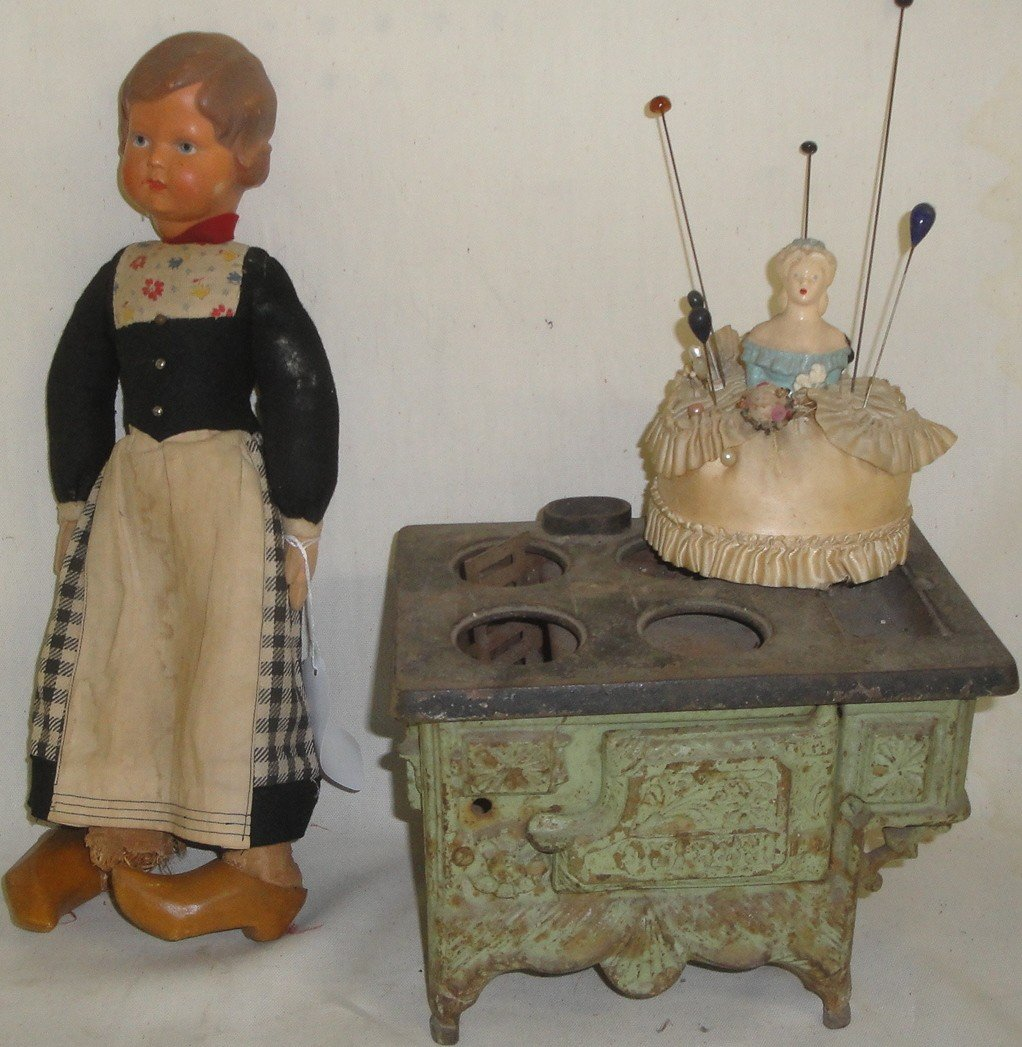 "4: Lot of misc. toys including cast iron toy stove ""Que"