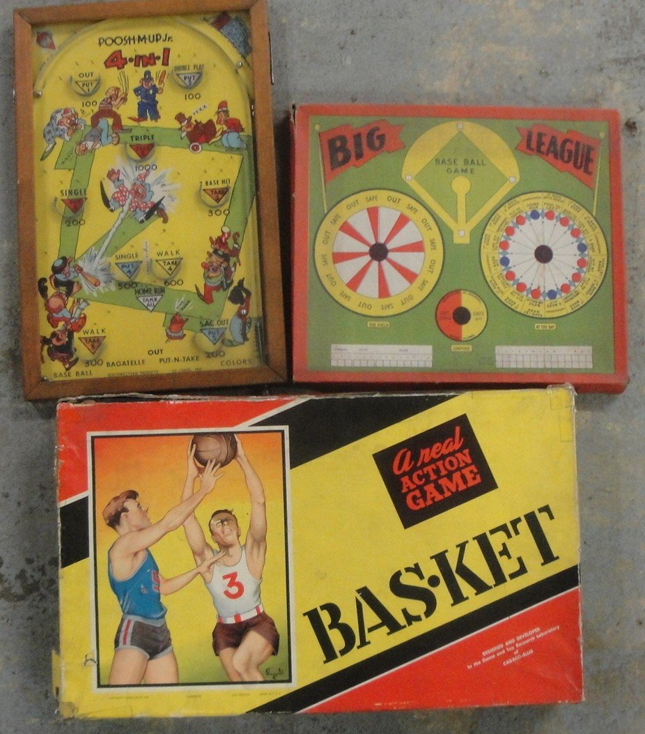 8: Five old games including Big League Baseball, Poosh-