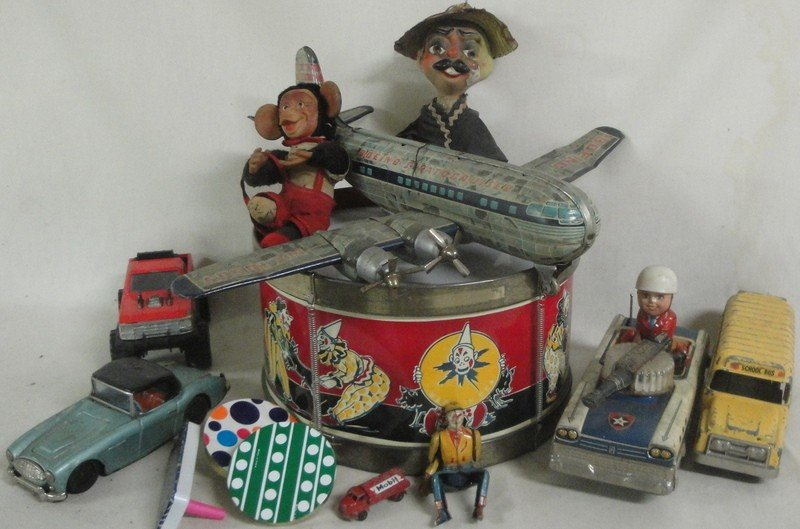 10: Lot of misc. toys including tin Boeing airpllane (a