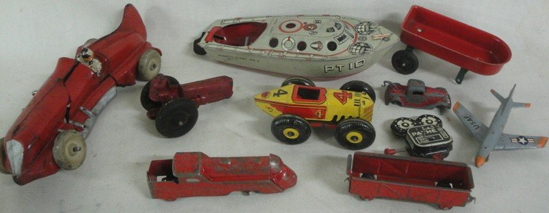 11: Lot of misc. toys in rough including Marx race car,