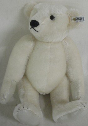 14: Newer jointed Steiff Mohair white Teddy bear with b