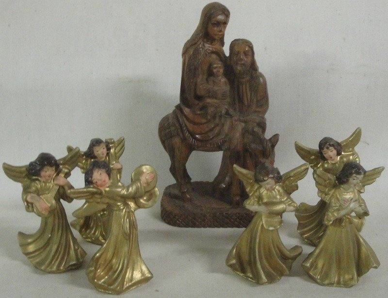 19: Wooden cresh with figures, most signed made in Germ - 3