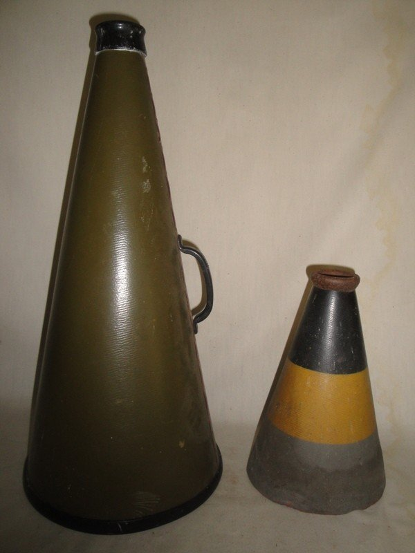 22: Two college megaphones including one black/gold/gre