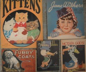 Grouping Of Old Children's Books Inc. Kittens