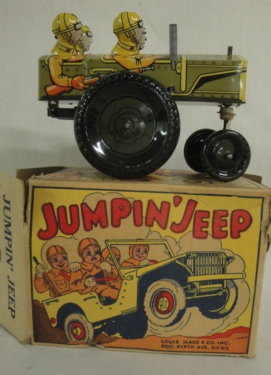 189: Tin windup Jumpin' Jeep toy by Louis Marx & Compan