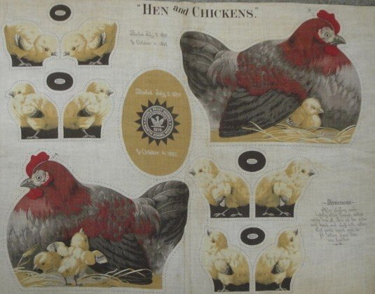 221: Uncut cloth doll of hen and four chicks by The Arn