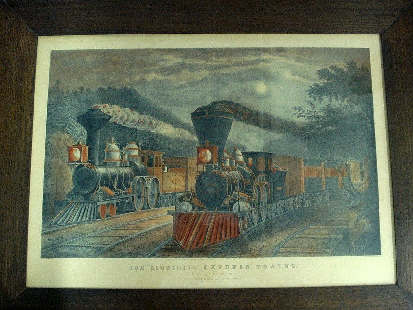350: Large folio - Currier & Ives hand-colored print -