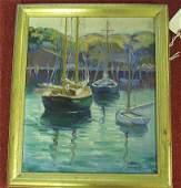 395: O/B - sailboats at pier - signed Julia H. Burdoin,