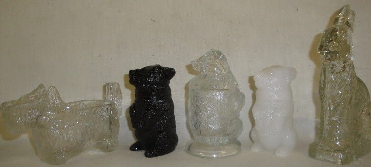 502: Grouping of five old candy containers inc. rabbit,