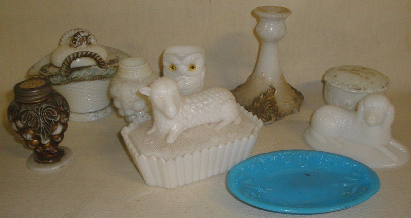 503: Collection of ten pieces of Victorian milk glass i