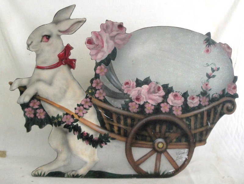510: 20th c. handpainted wooden Easter display of stand