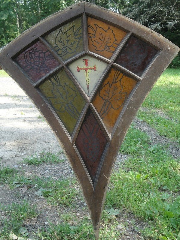 522A: Three handpainted stained glass windows