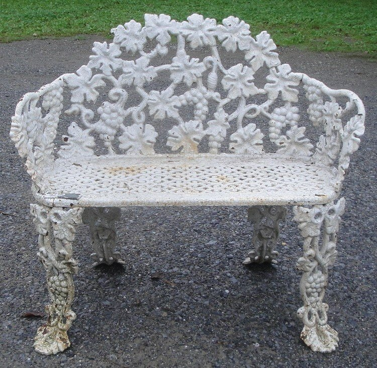 3: Old cast iron garden settee in grape pattern with gr