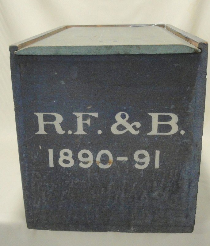 8: Old box with sliding-lid top in original blue paint