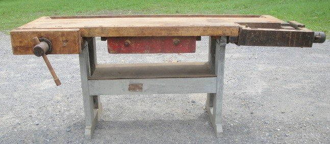 18: Large late 19th c. maple workbench with two wooden