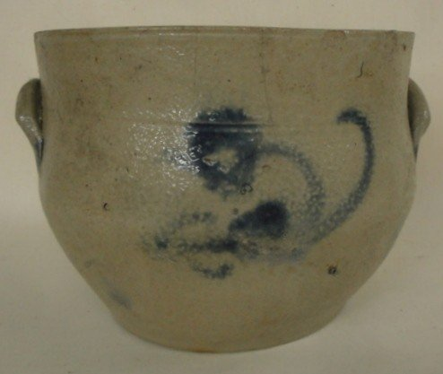 21: Stoneware crock with blue flower - two hairlines an