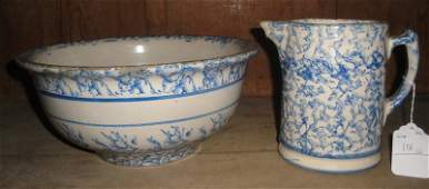 106: Two blue sponge-decorated stoneware items inc. mil