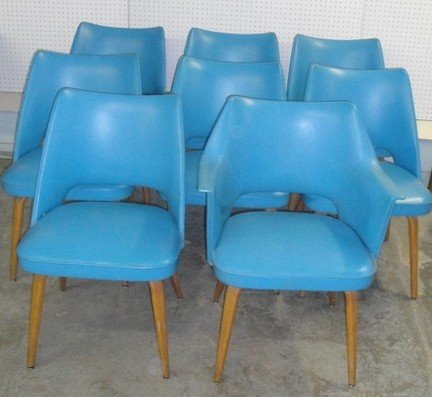 1: Set of eight Thonet dining room chairs in blue vinyl