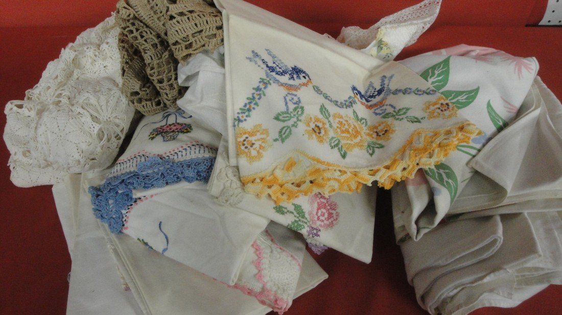 2: Collection of crochet tablecloths and hand sewn cros