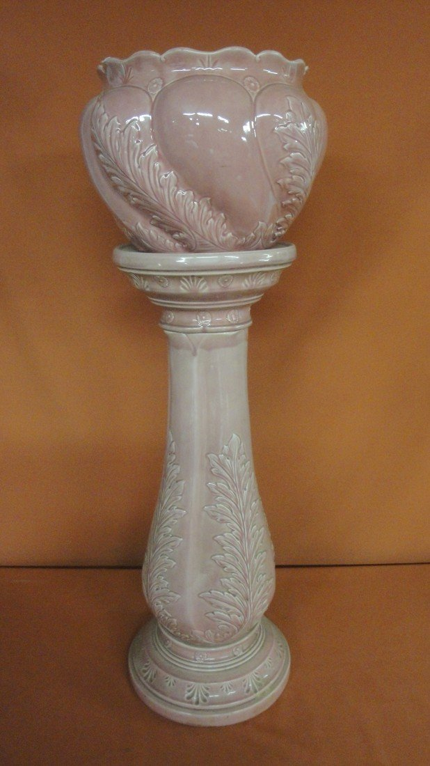 3: Signed Wardle art pottery jardiniere with stand