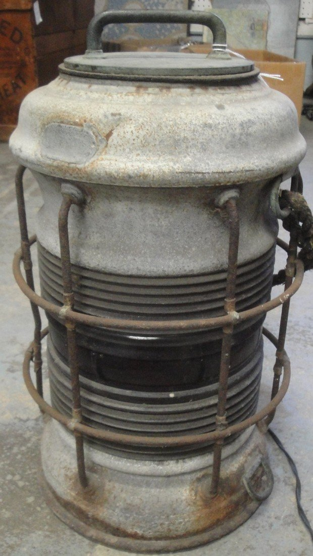 """5: Old zinc ship lantern with red glass shade - 16"""" hei"""
