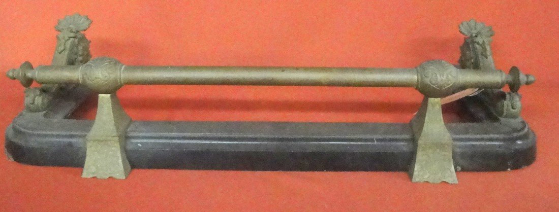 8: Cast iron and bronze fireplace fender - late 19th c.