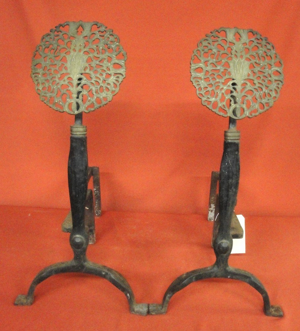 12: Pair of brass and iron Arts & Crafts andirons with