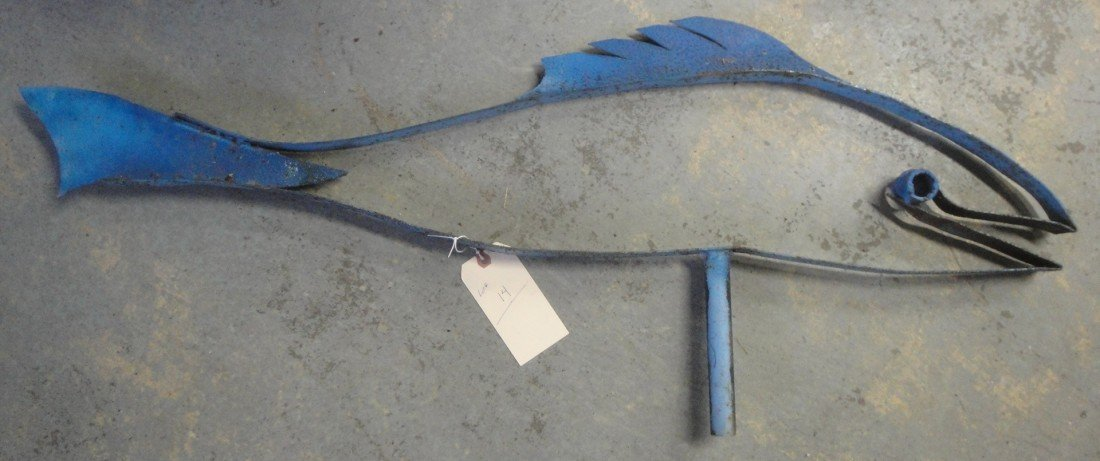 14: Modernistic sheet metal form weathervane of a fish