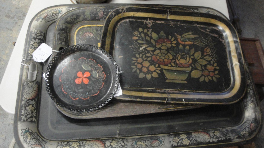 15: Four 19th c. stenciled trays