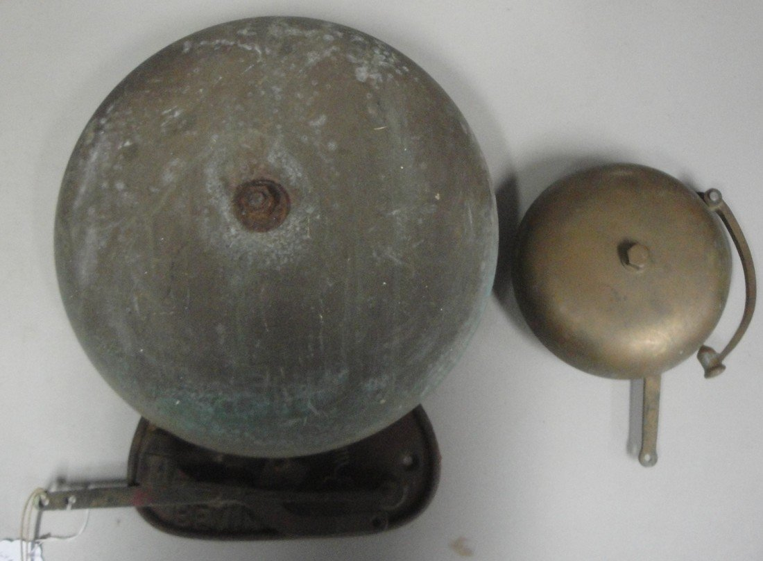 """17: Two old cast iron and brass doorbells - one with 6"""""""