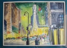 71 Watercolor of New York City street scene  West 45t