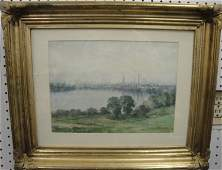 216: Watercolor - lake with buildings on shore - signed
