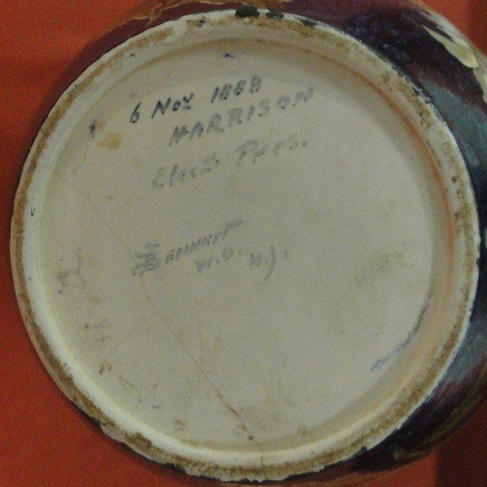 251: Signed John Bennett art pottery vase decorated wit - 4