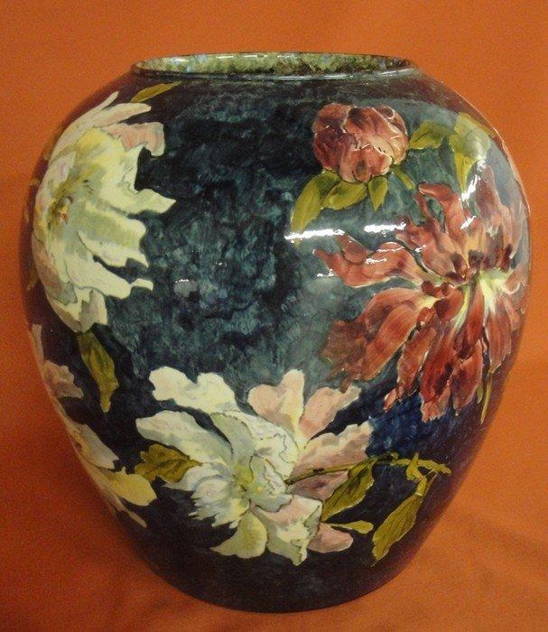 251: Signed John Bennett art pottery vase decorated wit - 7
