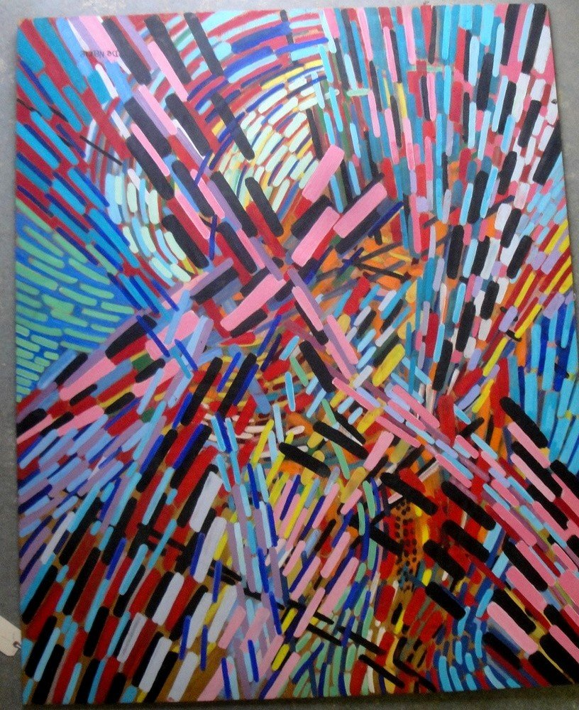 1: Large oil on plywood panel -Geometric abstract signe