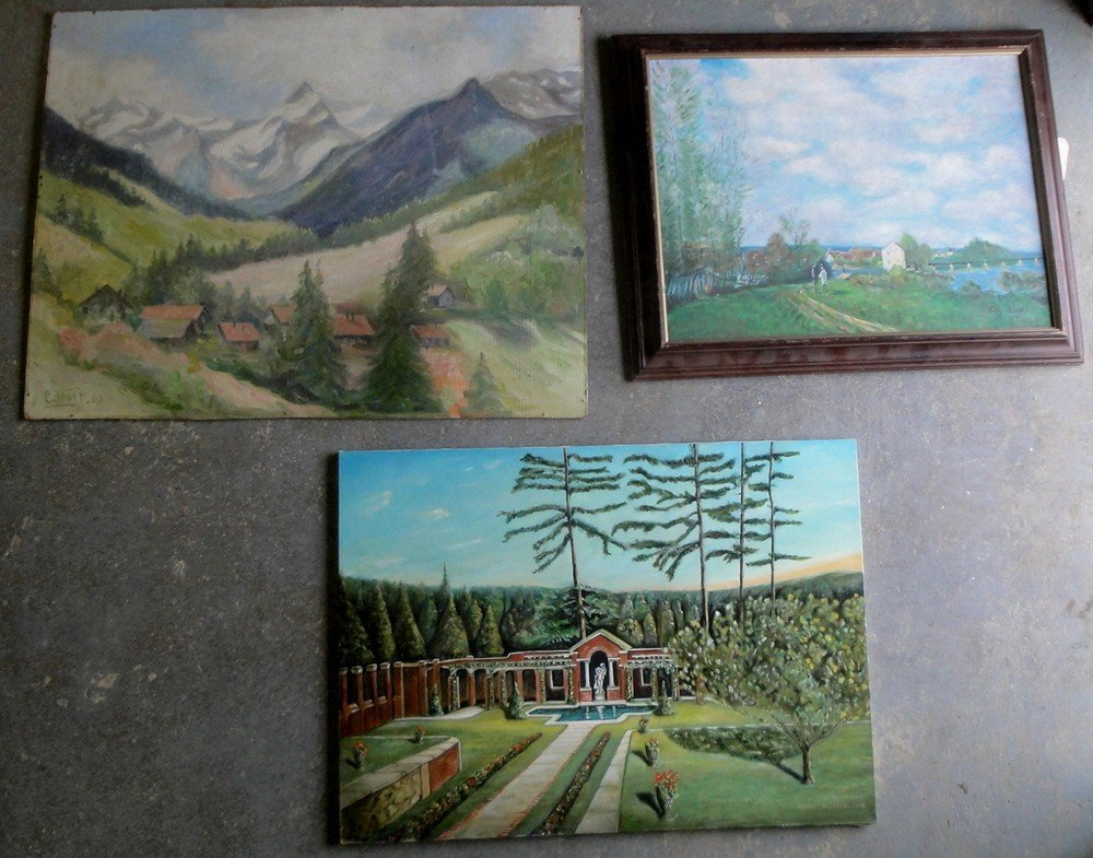 2: Three landscapes: O/B Swiss landscape signed C. Holt