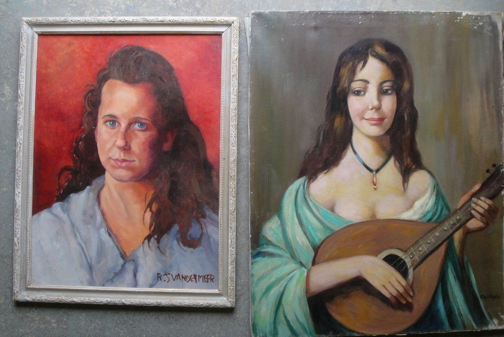 3: Two portraits of women including O/C Lady with mando