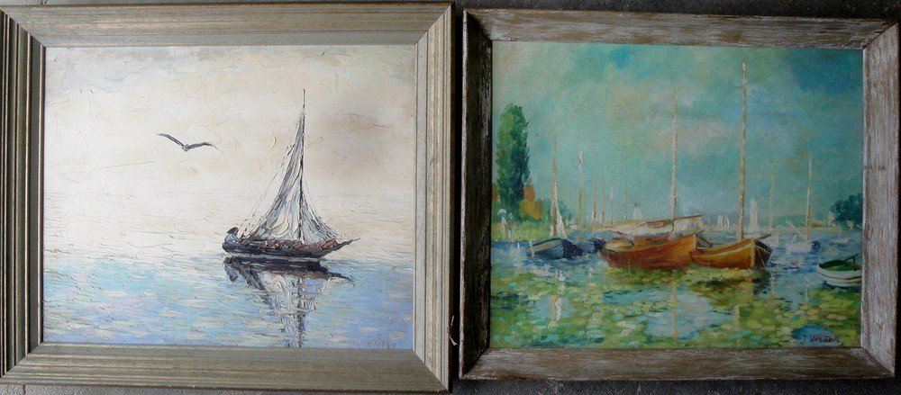 4: Two artwork: O/C Impressionist boats at harbor signe