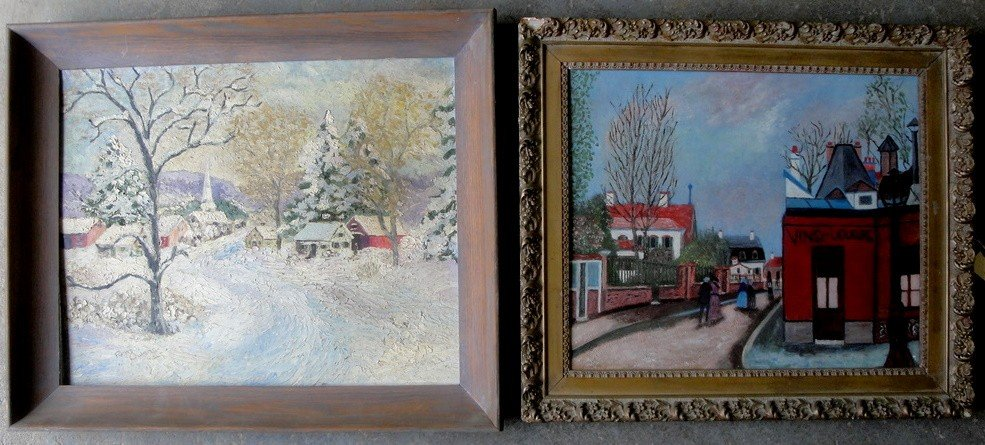 6: Two artwork town scenes: O/B Impressionist snow scen