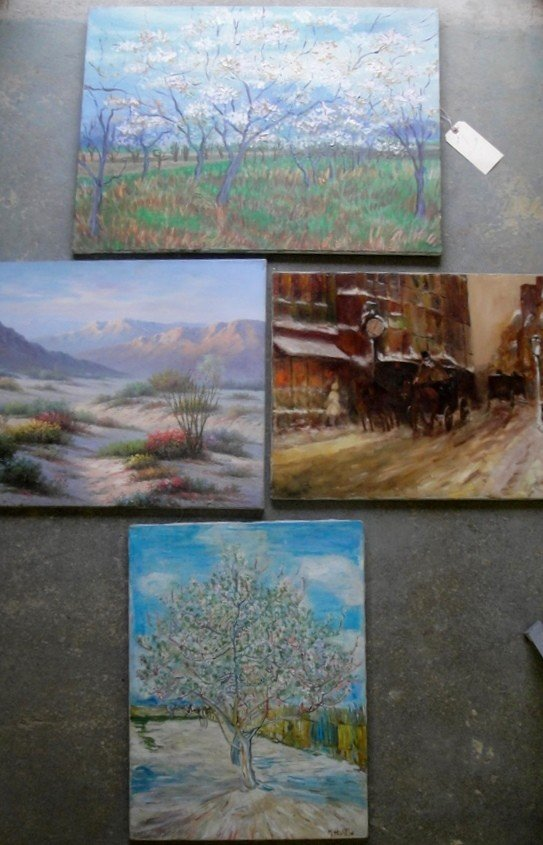 7: Lot of 4 misc. landscape paintings on canvas ranging
